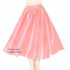 Salmon Pink Satin Skirt Mid-Calf New All Sizes